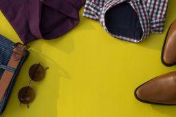 Men fashion clothing set isolated on a yellow background. Busine